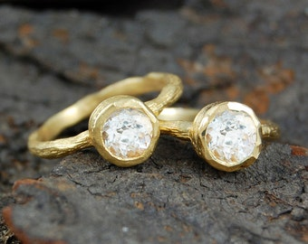 Gold Ring, Solitaire Ring, White Topaz Ring, Clear Stone Ring, Diamond Cut Gemstone, Diamond Ring, Gold Gemstone Ring, Engagement Ring, Gift