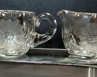 Creamer Sugar Lead Crystal Clear Glass Set Etched Daisy Flower Floral Heavy Vtg