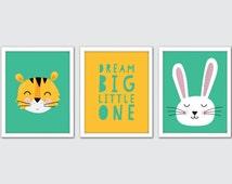 Animals Nursery Art, Animals Nursery Art, Jungle Nursery Decor, Animals Wall Art, Animals Wall Art Prints, Tiger and Rabbit Nursery Art
