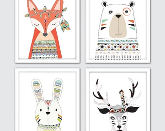 Woodland Nursery, Woodland Nursery Decor, Woodland Baby Shower, Woodland Animals Nursery, Tribal Nursery, Boho Nursery, Fox Bear Bunny Deer