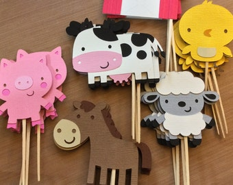 12 Farm Animals cupcake toppers, Farm/Farm Theme Party