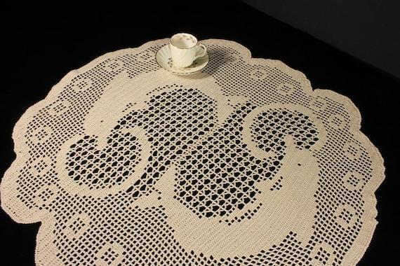 Doily, Crochet, Tablecloth, Handmade, Round, 25-inch, Dolphin, Home Decor, Cotton, Round