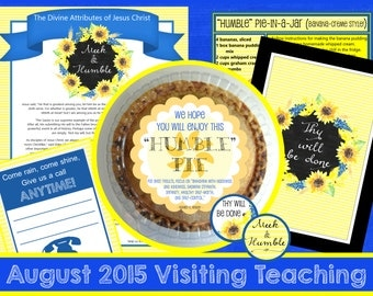 August 2015 LDS Visiting Teaching Message and Handouts, INSTANT DOWNLOAD, Jesus Christ, Meek and Humble