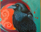 3 RAVENESQUE Raven CARDS -  pack of three