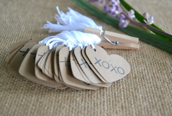 Wedding Favor Tags With String : heart wedding favor tags, kraft mini heart bulk hang tags with string ...