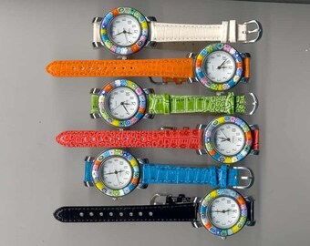 Murano Millefiori Glass Watch, 35mm Round, Venice Watch, Quartz Movement, with various colored bands,  Italian Watches for Ladies and Men