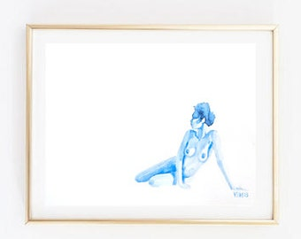 """Fine Art Print, Blue Watercolor, Nude Woman Sitting Down, """"Colorblind,"""" 8x10"""