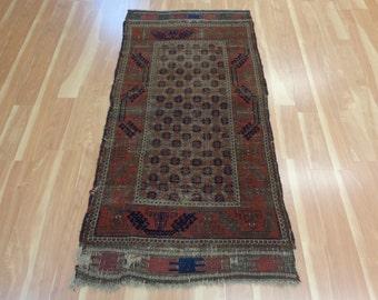 Antique Oriental Rug Worn Baluch Rug 2' 9 x 5' 5 Brown