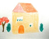 Yellow House, Orange Roof, Welcome to your new home card , Lilymoonsigns, illustration