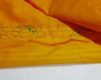 Indian Dupatta Long Stole / Wrap Scarf - with Beautiful Embroidery - Orange