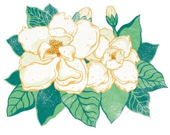 "Magnolia Flower, Georgia Botanical, Scientific Illustration, Floral Print, 8x10"" Original Giclee Print"