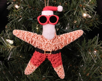 Santa Sugar Starfish at the Beach Ornament
