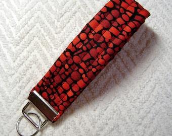Geometric Fabric, Black And Red, Handmade, Modern Fabric, Modern, Fabric, Key Fob, Fabric Keychain, Keychain, OOAK KF-87
