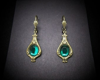 Victorian Emerald Earrings Antiqued Brass FREE SHIPPING USA