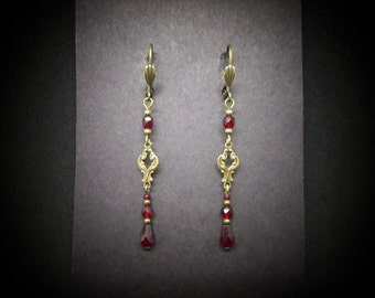 Brass Earrings Garnet Czech Glass Beads Victorian Goth FREE SHIP USA