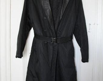 Gorgeous Vintage PRADA Nylon Coat with Leather Trim