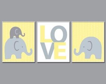 Elephant Nursery Art. Love Wall Art Prints. Suits Grey and Nursery Art Decor. Baby Elelphant Nursery Wall Art Print - N140,141,142