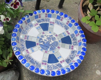 Unique mosaic birdbath for the garden; 35cm diameter; fully waterproofed