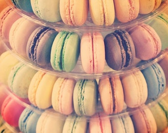 Macaroons photograph cottage chic wall art pastel color photo modern food photography kitchen wall art french poster light color artwork
