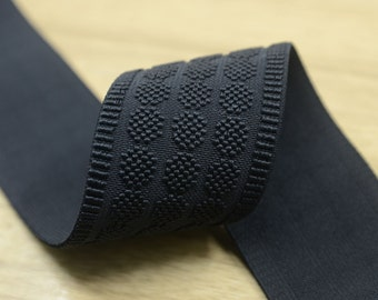 2 inch 50mm  Wide Black Embroidery Jacquard Elastic Band ,Waistband Elastic by the Yard, Elastic Trim,Elastic Ribbon,Stretchy Elastic 21010
