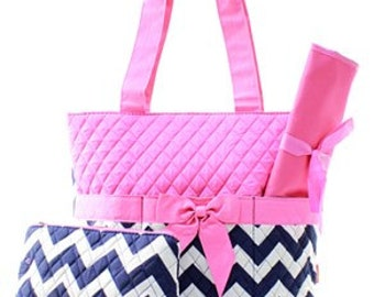 3 Piece Personalized Pink & Black Chevron Diaper Bag with Changing Pad And Cosmetic Case