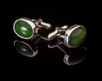 Sterling Silver and Jade Cufflinks