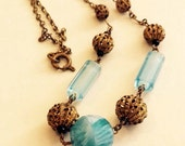 Vintage Czech Glass Filigree Necklace Art Deco Bi Colour Blue And White Bohemian Choker