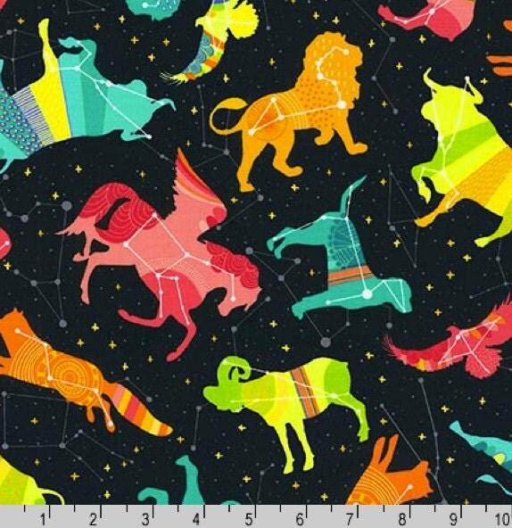 Night sky in celestial 100 cotton robert kaufman fabric for Galaxy fabric canada