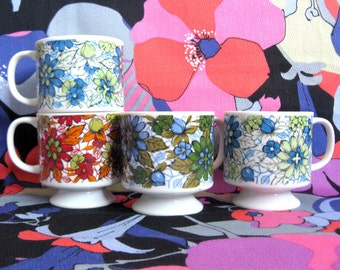 Vintage 1970s Floral Cups Japan 4 Blue Floral Ceramic Stacking Mugs
