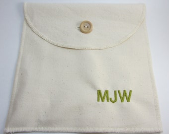 Personalized Reusable Organic Cotton Sandwich / Snack Bag