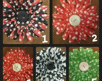 Hair Clip, Hair Flower, Vintage Button, Polka Dot, Hand Made