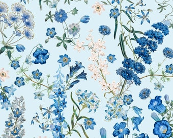 "New York Botanical Gardens, ""Harper"" Light Blue Wild Flowers by Quilting Treasures A49 Sold by the Half Yard"