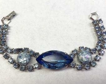 Sparkly blue vintage rhinestone bracelet- Free shipping