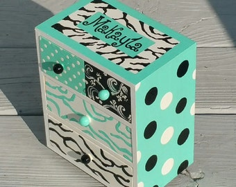 Gifts For Teen Girls Jewelry Box in Handmade Turquoise  Zebra Design  Personalized