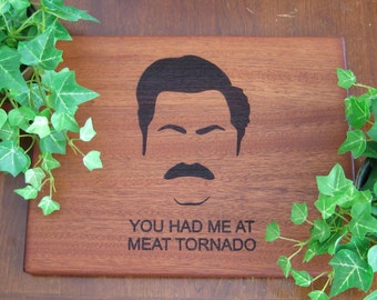 Ron Swanson, Parks & Recreation, Parks and Rec, Personalized, Cutting Board, Housewarming, Birthday Gift or Fathers Day, Tornado