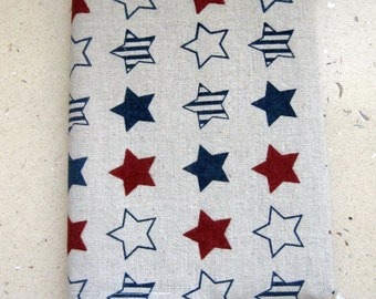 A5 Fabric Covered Notebook Diary or Journal. Reusable. Red White & Blue Stars Linen Fabric. Fully Lined. For Teacher/student. Back to school