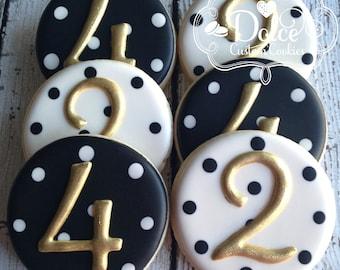 Birthday Number Elegant Black White Gold Cookies