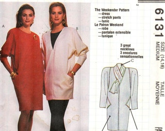 "McCalls 6131, Sz 14-16/Bust 36-38"".  Ladies  Loose Fitting V-Neck Tunic/dress and Stirrup Pants, Busy Woman's sewing pattern by Nancy Zieman"
