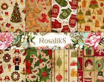 Christmas paper, Digital christmas, Holiday papers, Vintage christmas, Printable Christmas Paper, Christmas pattern