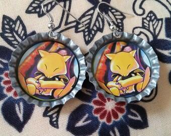 Abra Pokemon Bottlecap Earrings