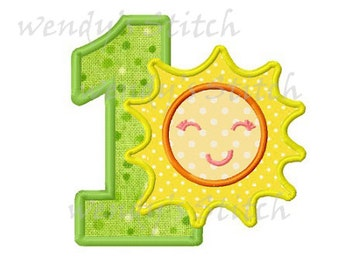 sun birthday applique number 1 machine embroidery design instant download