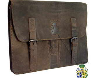 Leather portfolio FRESENIUS brown - BARON of MALTZAHN