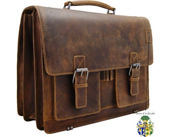 Large Briefcase Laptop bag HEDIN made from brown leather - BARON of MALTZAHN