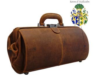 Men's tophandle bag - Doctors bag SCHWEITZER brown leather - BARON of MALTZAHN