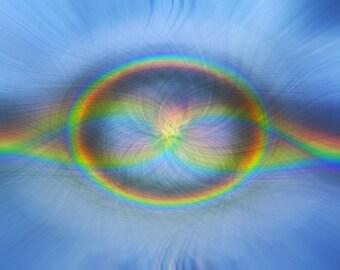 "Rainbow Prism Art Print Titled: ""Rainbow  Connection"" Minimalist hippie photo manipulation, limited edition digital fine art print 8x10"