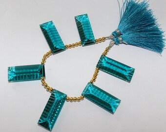 AAA Paraiba Teal Blue Quartz Concave Cut Baguette Briolettes Size 30 x 12 mm Set of 6 Pieces 3 matched Pair 0002