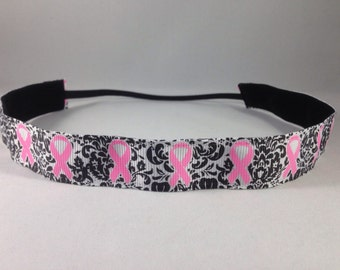 Non Slip Headband; EmBands- Non Slip Breast Cancer Awareness Headband; Pink Ribbon Headband; Running Headband; Pink Headband; Nurse Headband