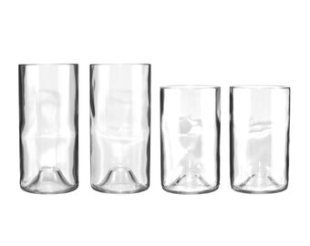 Set of Eight Clear Wine Bottle Glasses