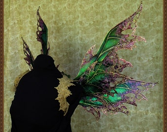 "Adult Fairy Wings**Iridescent ""Beetle Green""/Pink/Gold**FREE SHIPPING**Costume/Masquerade/Cosplay/Weddings/Renn Faires/Photo shoots"