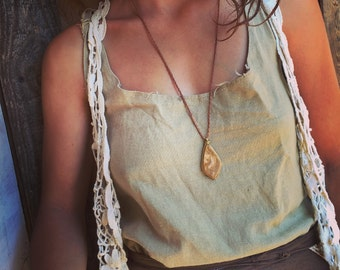 Fossil Boho chic Pendent with magical high quality stone, hippie bohemian Gypsy necklace Art of goddess tribal pendent bohemian
